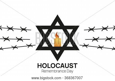 Holocaust Remembrance Day 27th Of January Template. Jewish Star Of David And Three Candles Among Bar