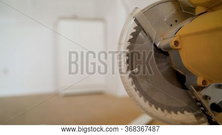 Cutting Power Saw. Closeup Saw Machine At A Sawmill Factory. Electric Circular Saw In A Wood Worksho