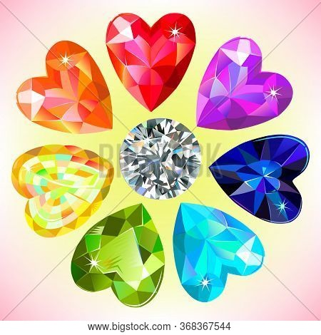 Heart Cut Gemstone Motif Pattern Shape Set On White Background Illustration