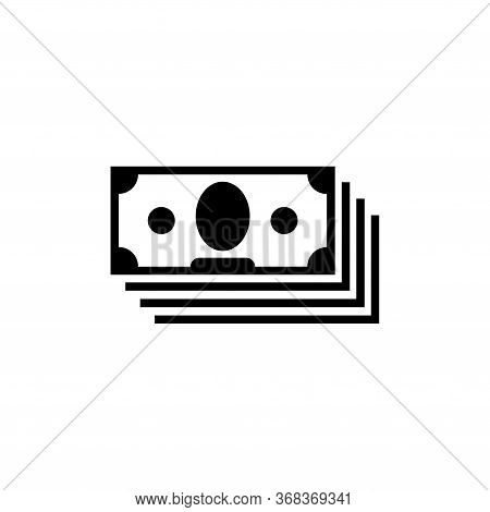 Money Cash, Stacked Banknote, Currency, Finance. Flat Vector Icon Illustration. Simple Black Symbol