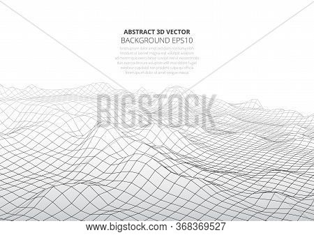 Abstract Background In The Style Of Low Poly Design. 3d Landscape In Virtual Reality. Space For Text