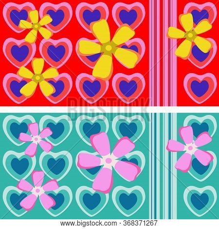 Seamless Repeating Ornament With Hearts And Flowers, Suitable For A Cup Design, Isolated On Backgrou