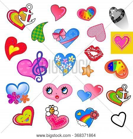 Set Of Comic Different Colored Style Heart Characters, Suitable For A Variety Design, Isolated On Ba