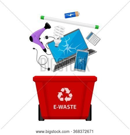 Electronic Waste And Red Recycling Plastic Bin Isolated On White, Bin Plastic And E-waste Collection