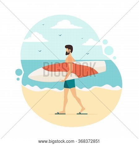 Happy Surfer In Blue Swimwear With A White And Red Surfboard Goes To The Beach. Man With A Surfboard