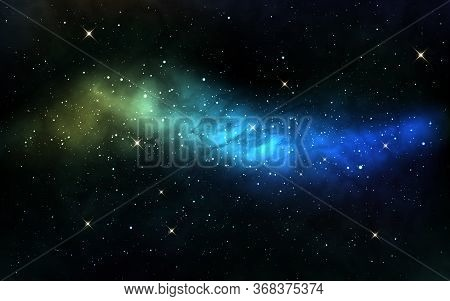 Milky Way With White Stars. Space Background With Blue Nebula And Stardust. Realistic Cosmos Texture
