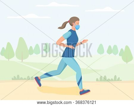 Women In Mask Running Outdoor, Jogging And Training In Park, Physical Activity Outdoors, Flat Vector
