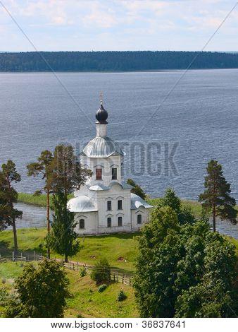 Christian Church On The Bank Of Lake
