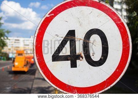 Speed Limit Sign. 40 Kilometers (miles) Per Hour. Close-up.
