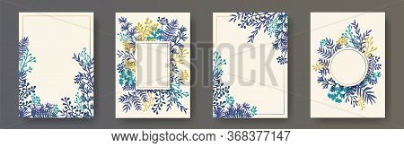 Tropical Herb Twigs, Tree Branches, Flowers Floral Invitation Cards Collection. Bouquet Wreath Moder