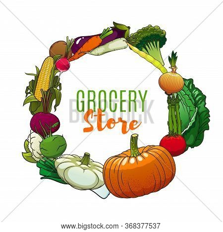 Farm Vegetables And Greenery Frame Of Grocery Store. Vector Tomato And Onion, Radish, Carrot And Egg