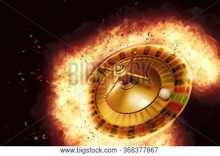 Exploding casino roulette wheel concept  - Selective Focus