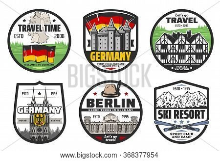 Germany Travel And Landmark Isolated Vector Icons. Flag, Map And Coat Of Arms Of Germany, Berlin Fam