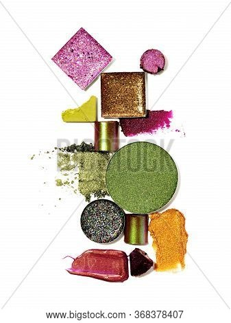 Still Life Of Makeup Products Isolated On A White Background. Abstract Composition Of Smudged And Sc