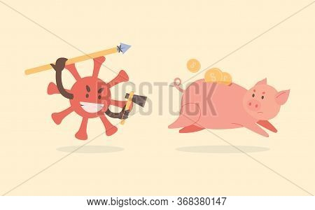 Evil Red Coronavirus Cell Hunts And Attacks The Piggy Bank. Piggy Bank With Gold Coins Run Away From