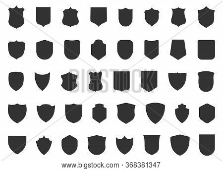 Police Badge Shape. 40 Icons Vector Military Shield Silhouettes. Security Patches Isolated On White