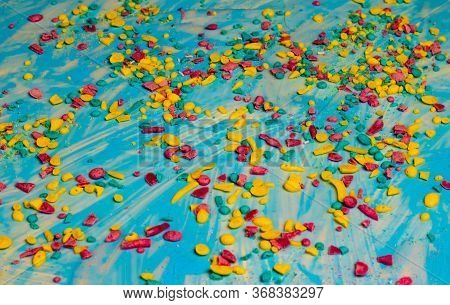 Colored Shavings On A Blue Background