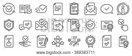 Set Of Checklist, Certificate And Award Medal Icons. Approve Line Icons. Certified Document, Accepte