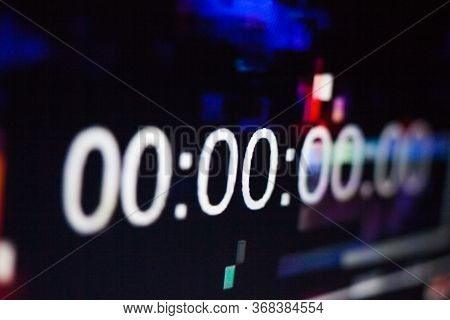 Zeroes On The Abstract Glitch Background. Timecode (time Code). Timer. Beginning. Glitch Art. Digita