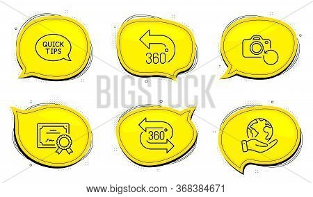 360 Degrees Sign. Diploma Certificate, Save Planet Chat Bubbles. Quickstart Guide, Recovery Photo An