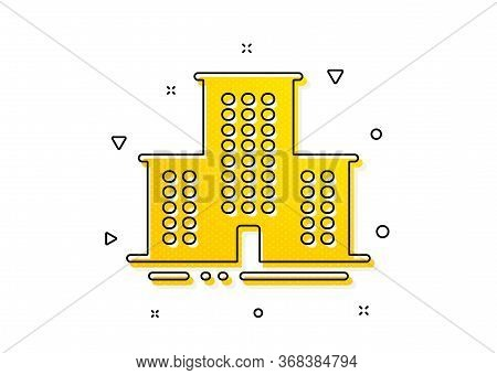 Apartments Sign. University Campus Icon. Architecture Buildings Symbol. Yellow Circles Pattern. Clas