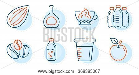 Cognac Bottle, Almond Nut And Cooking Beaker Signs. Espresso Cream, Apple And Coffee-berry Beans Lin