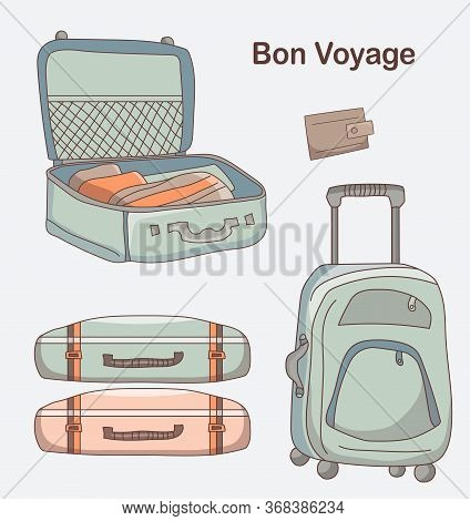 Set Of Vector Pictures Of Different Types Of Luggage For Travel. A Suitcase On Wheels, Lies And Open