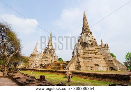 Three Main White Stupas Aligned In The Central Shrine Of Wat Phra Si Sanphet Temple, Ayuthaya, Thail