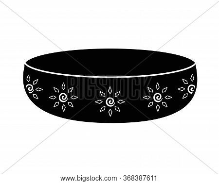 Candlestick Saucer Silhouette. Candlestick With A Pattern In The Form Of Suns - Vector Black Silhoue