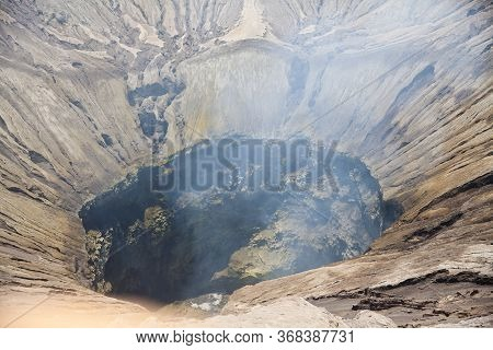 Indonesia. Java. The Crater Of The Volcano Bromo Volcano. Bromo Is An Active Volcano In Indonesia, P