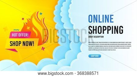Hot Offer Sale Icon. Clouds Banner Template. Discount Banner Shape. Special Offer Icon. Online Shopp