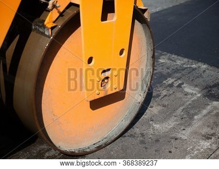 Road Roller On The Road Construction. Roadwork.