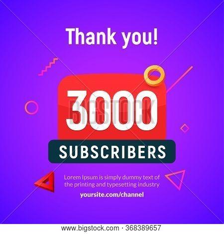 3000 Followers Vector Post 3k Celebration. Three Thousand Subscribers Followers Thank You Congratula