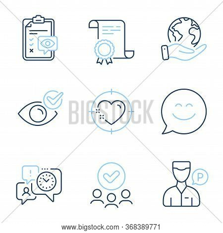 Eye Checklist, Valet Servant And Heart Target Line Icons Set. Diploma Certificate, Save Planet, Grou