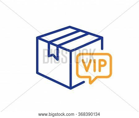 Vip Parcel Line Icon. Very Important Person Sign. Member Club Delivery Symbol. Colorful Thin Line Ou