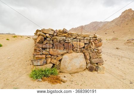 A Buddhist Prayer Stone Wall Along The Shan Valley Trek Route In Ladak, Northern India