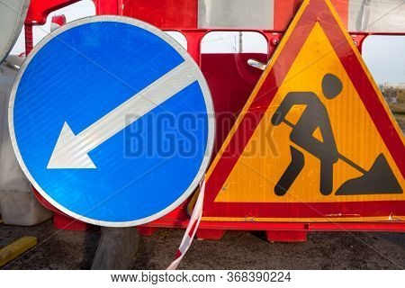 Road Works. Traffic Signs. Roadwork Sign And Keep Left Sign.