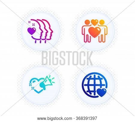 Love Couple, Friends Couple And Love Message Icons Simple Set. Button With Halftone Dots. Lovers, Fr