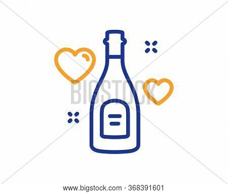 Love Champagne Line Icon. Wedding Drink Sign. Couple Relationships Symbol. Colorful Thin Line Outlin