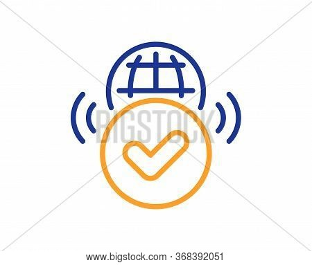 Verified Internet Line Icon. Approved Web Access Sign. Confirmed Connection Symbol. Colorful Thin Li