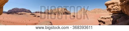Panorama Of A Desert Landscape In Wadi Rum, Jordan, Famous For Movies Like The Martian And Lawrence