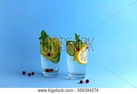 Sassy Diet Water. Cucumber, Lemon, Mint Lemonade In Glasses