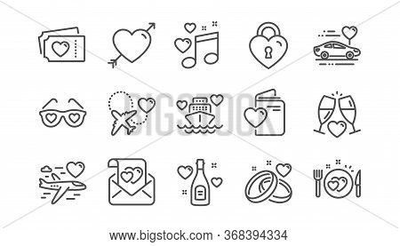 Honeymoon Line Icons Set. Wedding Car, Marriage Rings, Love. Valentine Heart, Bridal Champagne Icons
