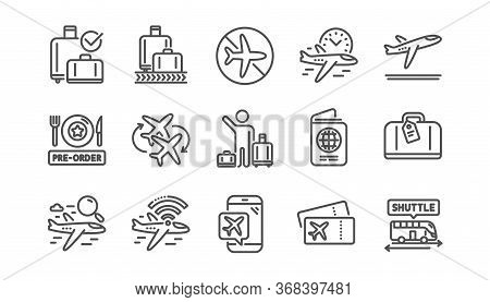 Airport Line Icons Set. Boarding Pass, Baggage Claim, Departure. Connecting Flight, Tickets, Pre-ord