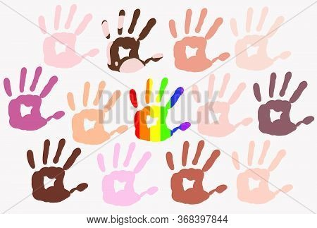 Different Skin Types Colour Hand Prints On Light Background, People Diversity, Rainbow In The Middle