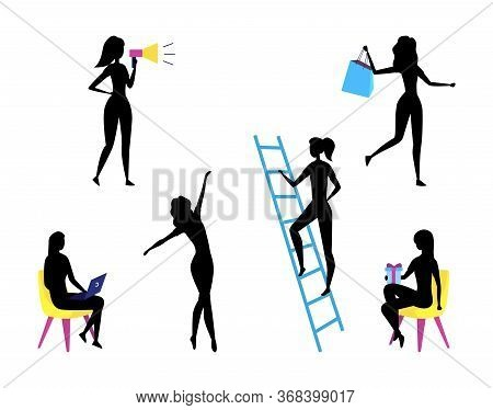Concept Of Self Employed People Silhouettes. Female Characters Do Shopping, Give Presents, Work And