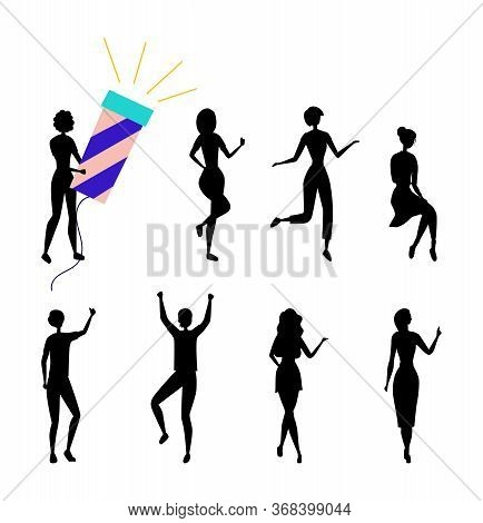 Dancing People Silhouettes Having Fun Together. Female Characters Collection In Colorful Clothing En