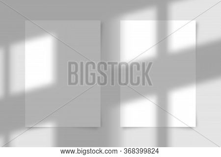 Two A4 Paper Sheet With Transparent Overlay Shadow From The Window And Jalousie. Photo-realistic Ill