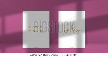 Scene Mockup. Two A4 Paper Sheet With Transparent Overlay Shadow From The Window And Jalousie. Abstr