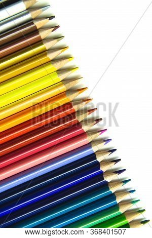 Crayons. Colorful Pencils Isolated On White Background. Back To School Concept. Vertical.